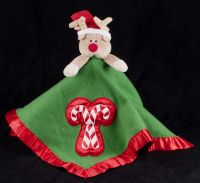 Baby Boom Christmas Reindeer Candy Canes Plush Lovey Security Blanket