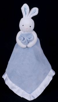 Baby Connection White Rabbit Blue Blanket Security Lovey
