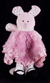 Baby Starters Pink Rabbit Plush Rattle Lovey Security Blanket
