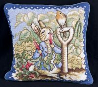 Beatrix Potter Collection PETER RABBIT Needlepoint Pillow