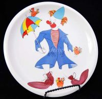 "Block Spal CLOWN WITH UMBRELLA 9"" Plate RARE"