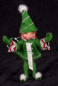 "Annalee Candy Cane 5"" Elf Girl Christmas Plush Doll Posable Display"