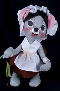 Annalee Mobilitee Girl Mouse Pilgrim Thanksgiving Mouse Plush Vtg 82