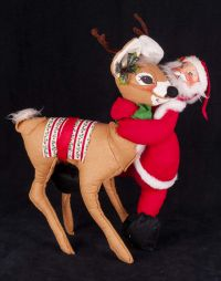 Annalee Reindeer with Santa Claus Posable Christmas Display Vtg 63 65