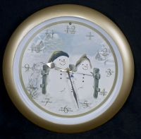 Musical Christmas Caroling Snowman Chime Clock