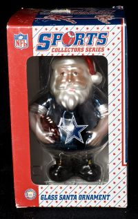 Topperscot NFL Dallas Cowboys Glass Santa Christmas Ornament NEW