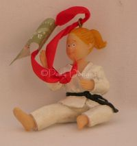 MARTIAL ARTS BLACK BELT Girl Ornament - NEW