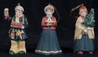 Russ Berrie Ceramic Victorian Village Christmas Figure Ornament Set of 3
