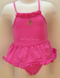 GAP Baby Hot Pink 1pc SWIMSUIT + BUCKET HAT Sz 3-6 mo