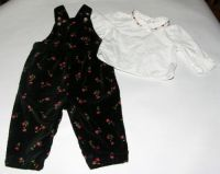 Gymboree Old Navy 2pc FLORAL OVERALL Set 6-12mo
