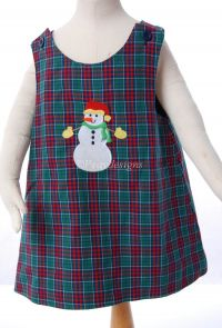Kelly's Kids SNOWMAN Plaid Jumper DRESS Sz 2 NEW