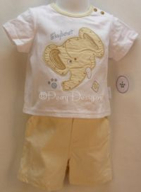 Laura Ashley ON SAFARI 2pc ELEPHANT Outfit Sz 12mo NWT