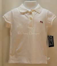 LE TIGRE White Classic Polo Shirt Girls Sz 4T - NEW