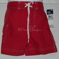 RALPH LAUREN POLO Red SWIM SHORTS Baby Boy Toddler - NEW