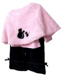 Starting Out Chic Black & Pink Cat 3pc Baby Outfit