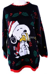 ugly tacky christmas snoopy woodstock sweater sz m