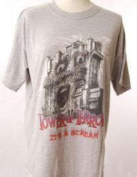 Disney TOWER OF TERROR Gray Tshirt Adult Sz L NEW