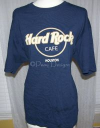 Hard Rock Cafe HOUSTON Faux Leather Letter Tshirt Sz XL