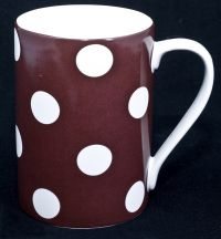222 Fifth PTS Sugarland Coffee Mug Brown White Polka Dots