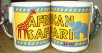 AFRICAN SAFARI Elephant Sculpted Coffee Mugs Lot of 2