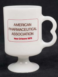 American Pharmaceutical Assoc. New Orleans 76 Novafed Milk Glass Coffee Mug