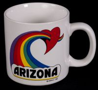 Arizona Rainbow Heart Coffee Mug Vtg 84