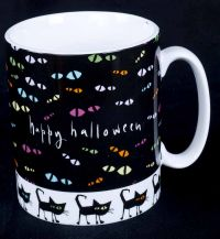Brother Sister Design Studio Happy Halloween Black Cats Oversized Coffee Mu