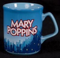 Disney Mary Poppins Black Red Silhouette Blue Coffee Mug