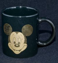 Disney Mickey Mouse GOLD FACE Black Coffee Mug Vintage
