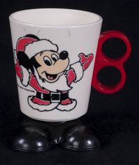 Disney Mickey Mouse as Santa Hard Plastic Coffee Mug Cup Vintage