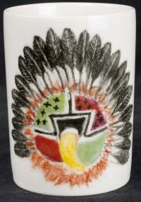 Ahola Hopi Chief Native American Indian Handpainted Coffee Mug