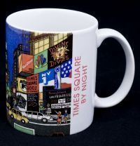 New York City NYC Times Square by Night Artist Pat Singer Coffee Mug 1999