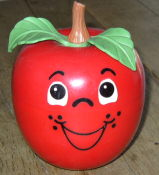 Fisher Price Happy Apple #435  Chime Toy - 1972 LONG STEM