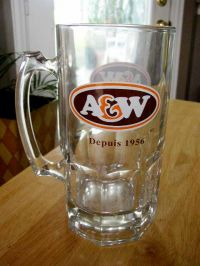 "A&W Root Beer 8"" Tall Glass Mug French Canadian Promo"