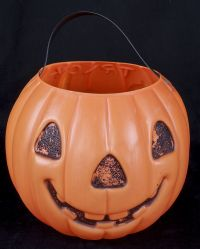 AJ Renzi Pumpkin Jack O Lantern Trick Treat Blow Mold Candy Bucket Vtg 60's