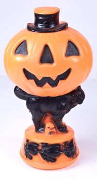 Empire Blow Mold Halloween Pumpkin Light with Black Cat and Witches - Vinta
