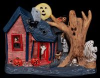 Halloween Haunted House Kimple Mold Ceramic 70's Electric Light Lamp Displa