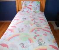 PEANUTS Rainbow 3pc TWIN Bed Fabric Sheet - VINTAGE 66