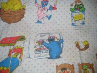 SESAME STREET Bedding Fabric Twin Size Flat Sheet Vintage