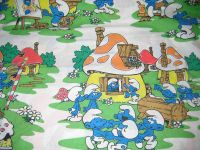 Smurfs Bedding Fabric Twin Size Flat Sheet Vintage 83 Peyo