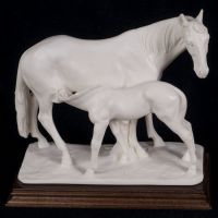 A. Santini Mare & Foal Horse Statue Alabaster Ivory Resin Vtg 70's