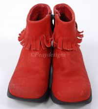 DKNY Red Leather POCAHONTAS Boots Toddler Girls Sz 11