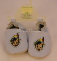 Disney PINOCCHIO Blue Leather Baby Crib Shoes 12-18 Months