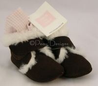 Janie and Jack FAUX FUR LINED Crib Homespun Shoes Sz 3 NWT