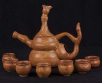 Asian Japanese Chinese Tea Kettle / Pot / Sake Hand Thrown Pottery Set