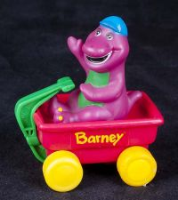 Barney the Dinosaur Riding in Red Wagon Plastic Figure Toy Vtg 93