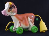Fisher Price Molly Moo Cow Pull Toy #132 Vintage 1972