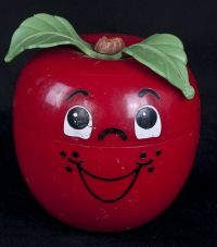 Fisher Price Happy Apple #435 Chime Toy - 1972 VERY SHORT STEM