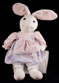 "Velveteen Rabbit White Bunny Floral Dress 28"" Large Plush Hard to Find"